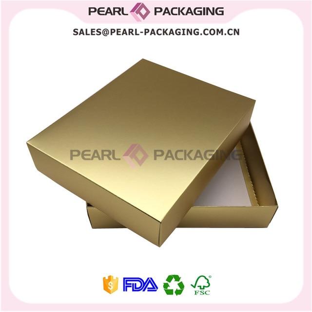 0ba277d709f6 Oro metálico de color caja de embalaje de ropa, oro mate ropa con tapa,