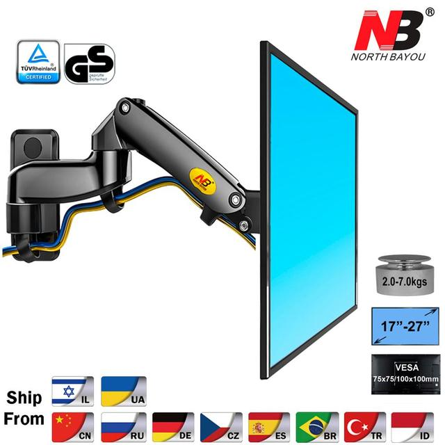 "NB F150 Aluminum Alloy 360 Degree 17"" 27"" Monitor Holder Gas Spring Arm LED LCD TV Wall Mount Loading 2 7kgs"