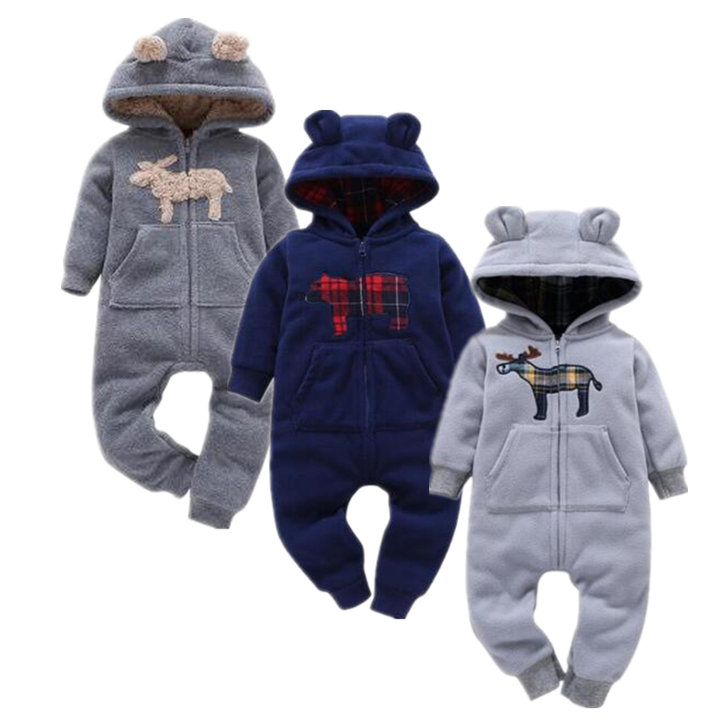 2018 baby boys clothes girls Fleece rompers cartoon Hooded Jumpsuit New Born winter clothing spring jumpsuit baby girl clothing цена