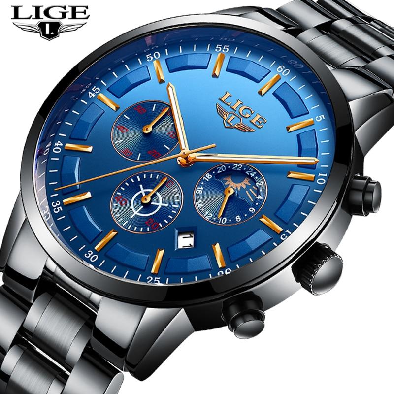 LIGE Mens Watches Clock Business-Watch Quartz Waterproof Top-Brand New-Fashion Luxury