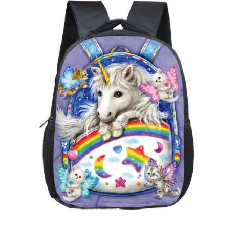 12 Inch Cartoon Unicorn School Backpack Schoolbags Girls Boys Rainbow  horse Children School Bags Kindergarten Toddler Backpack primary children cartoon mickey school bags 2016 kids cartoon backpack waterproof schoolbags satchel for boys and girls