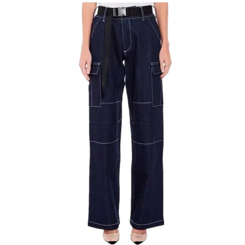 Women Straight Pant High Waist Jeans Loose Trousers Jeans Capris Pockets safari style Patchwork Jeans