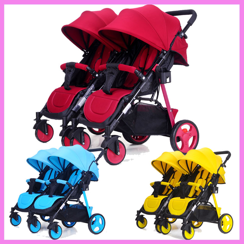 Twin Baby Trolley Can Be Split Double Twins Baby Stroller Umbrella Baby Cart Can Sit Flat Lying Baby Travel Car Pushchair Pram mige stroller baby trolley cart folding baby carriage baby cart can be lying on the baby cart portable cart pram with 3 gift