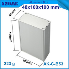 10pcs/lot hot sales aluminium extrusion case enclosure with heatsink anodizing switch box 48*100*100mm