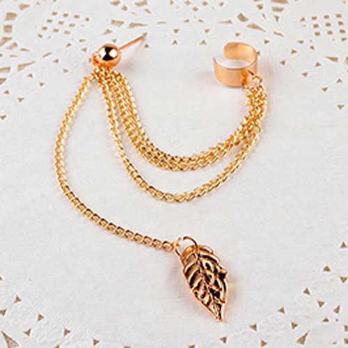 1 sztuk kolczyki biżuteria moda osobowość metalowy klips do ucha frędzel z liściem kolczyki dla kobiet prezent Pendientes Ear Cuff złapany w mankiety