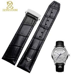 Image 2 - Bracelet de montre en cuir véritable de vache, 20mm, 22mm, pour MAURICE LACROIX, boucle pliante, loisirs, business
