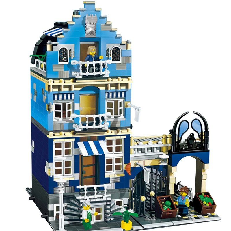 Lepin 15007 Factory City Street European Market Model Building Block Set Bricks Kits DIY Compatible 10190 new lepin 22001 pirate ship imperial warships model building kits block briks toys gift 1717pcs