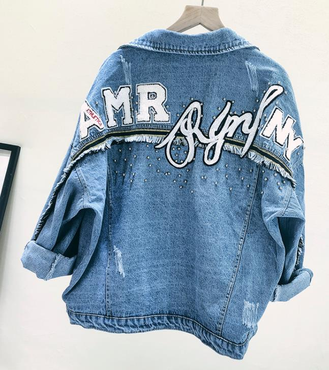 2019 High Quality Embroidery Harajuku BF Jean Jacket Spring Loose Beading jacket For Women Autumn Coat Denim jacket for women-in Jackets from Women's Clothing    1
