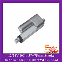 12v dc Electric Linear Actuator motor with Potentiometer feedback 75mm/ 3 stroke 1000N=225lb 12 volt actuator