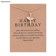 New Golden Plated Happy Birthday Ballet Girl Alloy Clavicle Bones Pendant Short Necklace