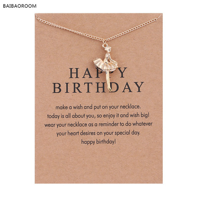 038fffe9947fd US $0.62 48% OFF New Golden Plated Happy Birthday Ballet Girl Alloy  Clavicle Bones Pendant Short Necklace-in Pendant Necklaces from Jewelry &  ...