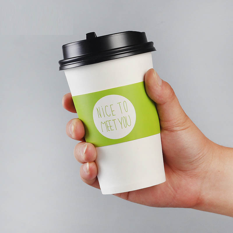 100 pcs Disposable Cup sleeve for disposable cups White cardboard paper coffee tea juice Cup sleeve Adjustable size Customized in Disposable Party Tableware from Home Garden