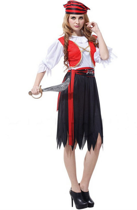 Painstaking Free Shipping!!red Waistcoat Black Dress Luxuriant Wild Female Pirate, All Saints Party, Stage Performances, Masquerade Costumes Good Heat Preservation