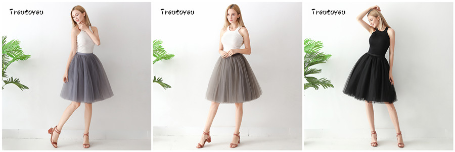 Streetwear 7 Layers 65cm Midi Pleated Skirt Women Gothic High Waist Tulle Skater Skirt rokjes dames ropa mujer 19 jupe femme 15