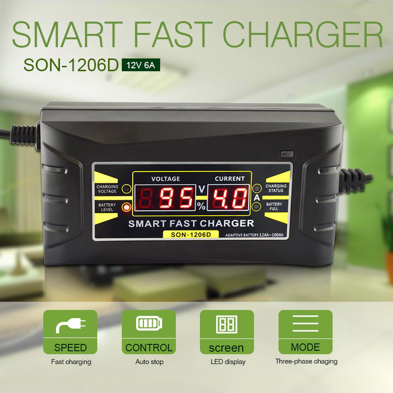 NEW Full Automatic <font><b>Car</b></font> <font><b>Battery</b></font> <font><b>Charger</b></font> <font><b>Smart</b></font> Fast Power Charging Suitable for <font><b>car</b></font> motorcycle With EU Plug 150V-250V To 12V 6A image