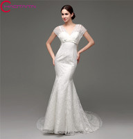 Cheap White Beautiful Lace Affordable Wedding Dress Mermaid Modest Short Sleeve Floor Length Bridal Gown With Bow