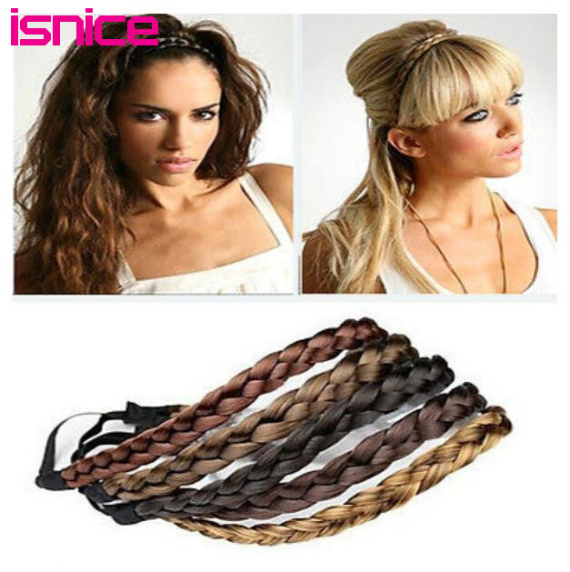 Isnice Lady Fashion Headband Girl Synthetic Plaited Plait Elastic Headband Hairband Braided Band Hair Accessories Bohemian