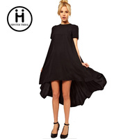 1 Pcs Casual Beach Tunic Women S Black Short Sleeve Dress Irregular Front Short And After