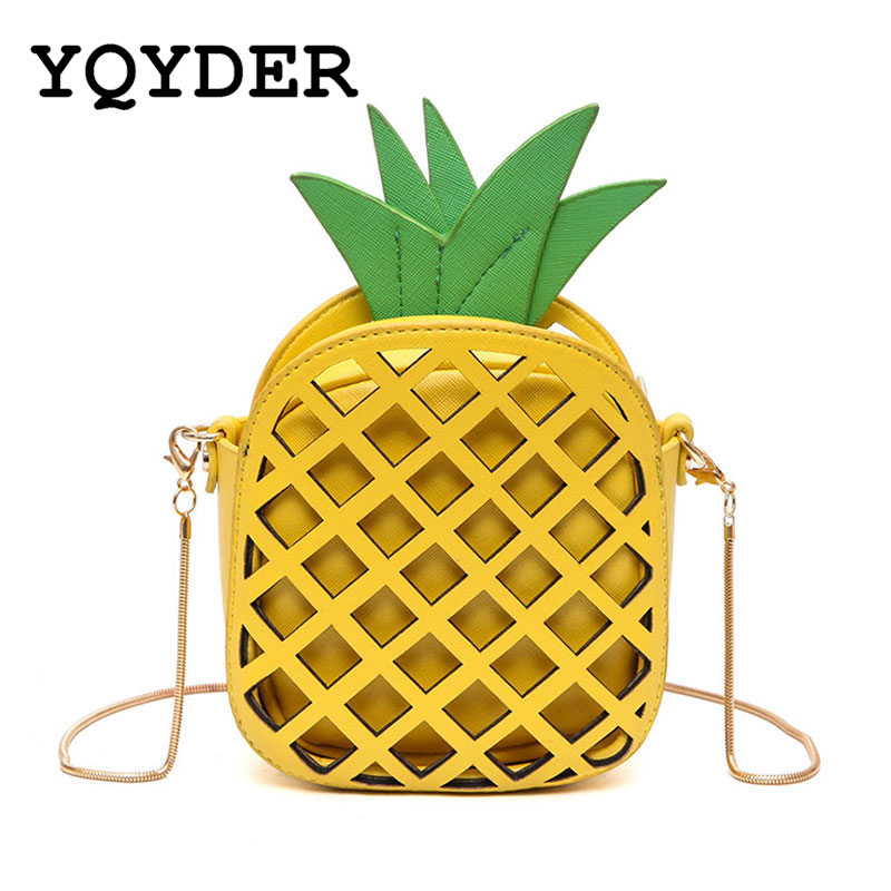 2017 Women Bags Yellow Leather Cute Handbag For Women Lovely Pineapple Girl Messenger Bag With Chain Hollow Out PU Mini Purse