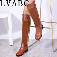 LVABC 2018 winter boots women warm knee high boots round toe down fur ladies fashion thigh snow boots shoes waterproof botas 37
