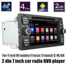 "For Ford Mondeo Focus Transit CMAX 7"" Car DVD GPS Navigation 4G SIM LTE radio player 2 din steering wheel control"