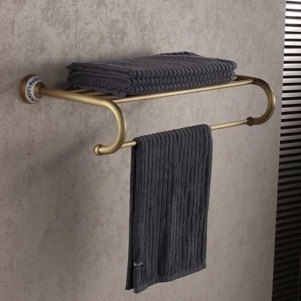 Antique Brass Bathroom Towel Holder Wall Mounted Towel Rack new arrivals wall mounted towel rail antique brass towel holder copper material bathroom towel racks towel shelf
