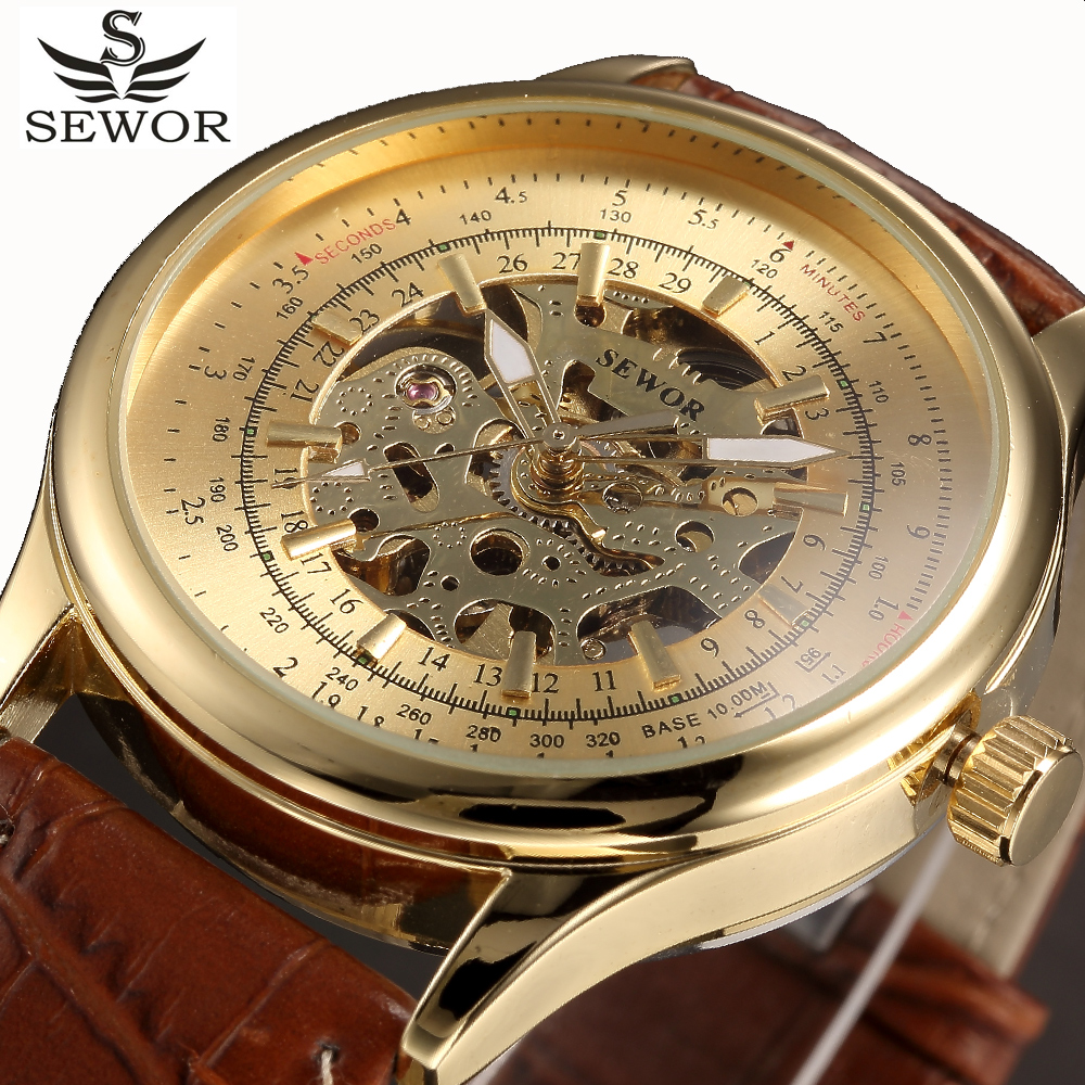Automatic Mechanical Watch Men SEWOR Top Brand Gold Leather Mens Watches Skeleton Watch Relogio Masculino Wristwatches