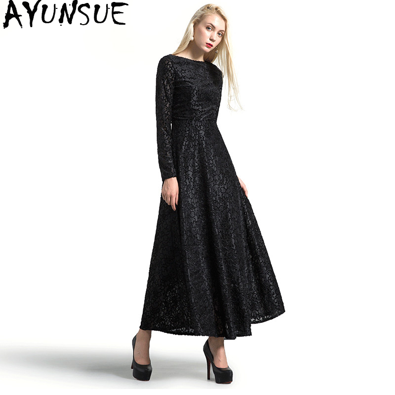 AYUNSUE 2018 Vintage Black Lace Dress Female Autumn Winter Dresses Long Sleeve Maxi Dress Women vestidos Plus Size 4XL WYQ1101 цена