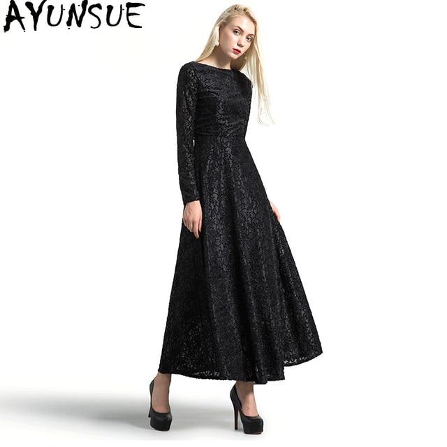 AYUNSUE 2018 Vintage Black Lace Dress Female Autumn Winter Dresses Long  Sleeve Maxi Dress Women vestidos f4c744c73c5b
