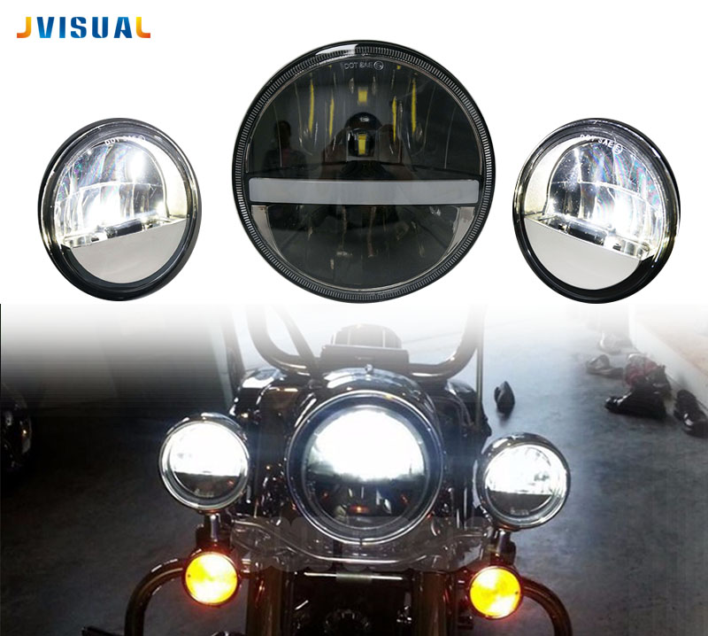 Motorcycle 7 inch Headlight With Strip light Headlamp 7 LED Head Driving Light for Harley Davison Street Fighter Honda DYNA 7 inch motorcycles headlight for harley davison choppers