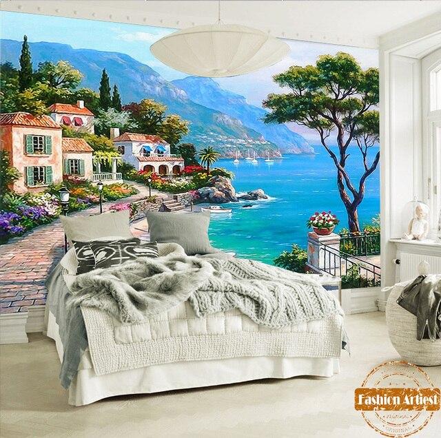 Custom Seaside Peace Villa Garden Wallpaper Mural Mediterranean Sea Gulf  Boat Oil Painting Tv Sofa Bedroom