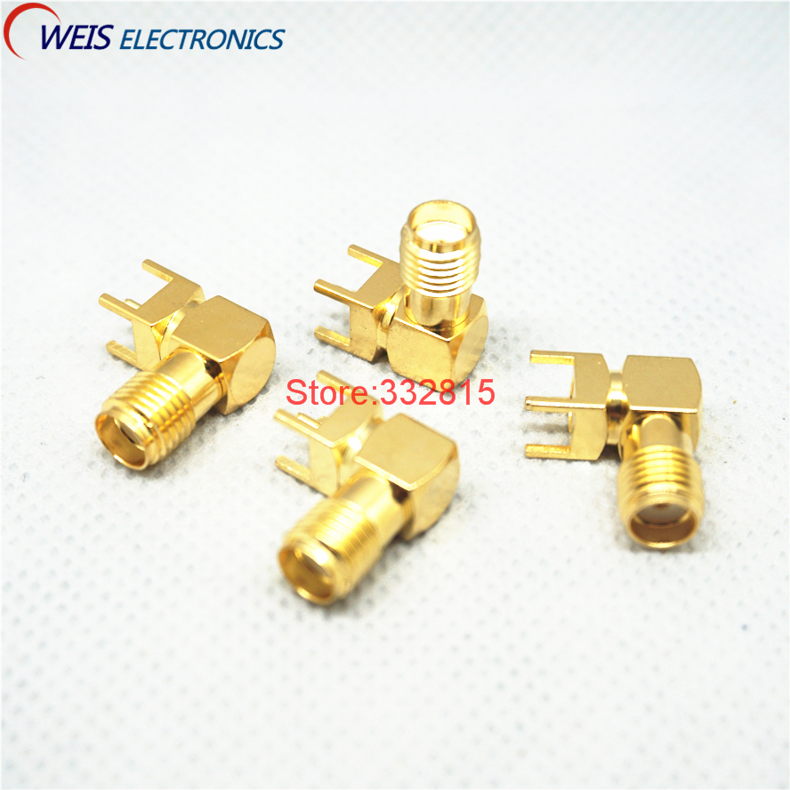 10PCS SMA female Thru Hole plug Right Angle 90 DEGREE ( SMA-KWE ) PCB Mount connector  RF adapter Free Shipping10PCS SMA female Thru Hole plug Right Angle 90 DEGREE ( SMA-KWE ) PCB Mount connector  RF adapter Free Shipping