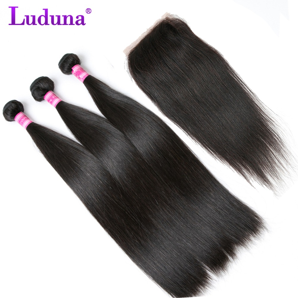 Luduna Malaysian Straight Hair Bundles With Closure Human Hair 3 Bundles With Closure 4 PCS Non Remy Lace Closure With Bundles