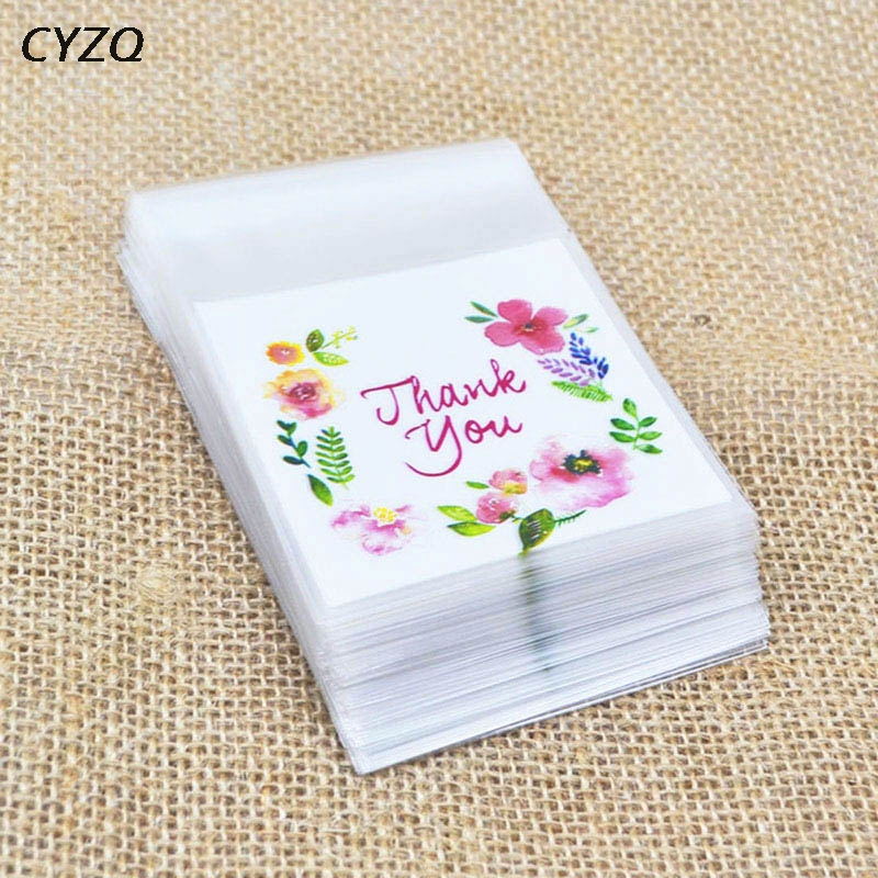 50/100Pcs 7*7cm Thank You Candy Cookie Bags Wedding Birthday Party Craft Self-adhesive Plastic Biscuit Packaging Gift Bag