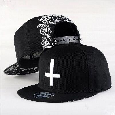 2015 New Fashion Men Women Cross Printing Leisure   Baseball     Cap   Hip Hop   Cap   Flat along Snapback   Cap   Skateboard   Cap   bone
