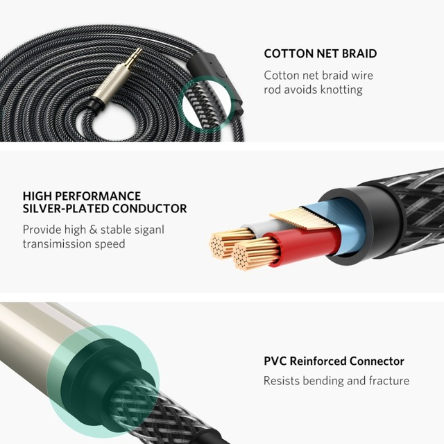 """Cable divisor Ugreen chapado en oro de 3,5mm 1/8 """"TRS a 6,35mm 1/4"""" TS Mono Cable en Y para iPhone, iPod, tarjetas de sonido de computadora, reproductor de CD"""