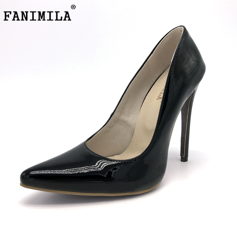 FANIMILA big size 34-46 brand ladies 12cm thin high heel shoes women quality party pumps pointed toe footwear shoes P22546 doratasia denim eourpean style big size 33 43 pointed toe women shoes sexy thin high heel brand design lady pumps party wedding