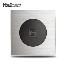 L6 TEL Telephone RJ11 Wall Socket Wiring Outlet Silver Satin Metal Plate Brushed Aluminum, 86 * 86 mm