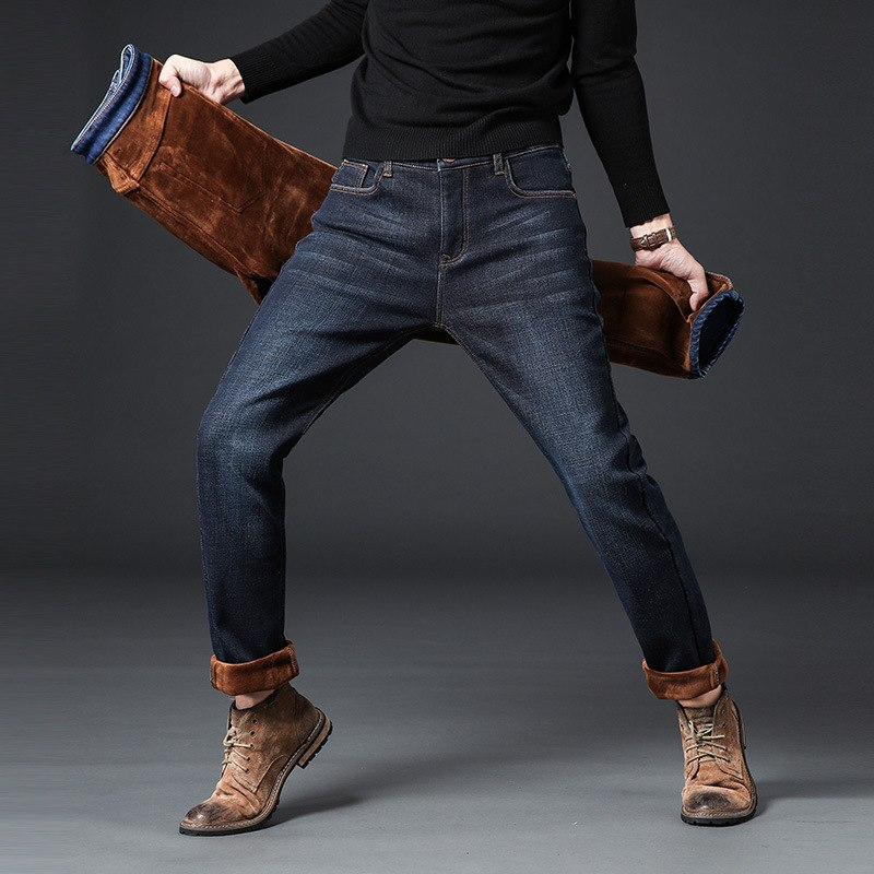 2018 Neu Mode Winter Jeans Männer Schwarz Farbe Gerade Fit Elastische Dicke Warme Jeans Für Männer Casual Business Samt Jeans Hosen