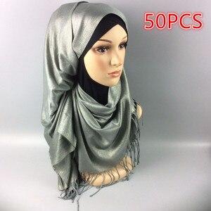A 60 50 шт. хит продаж женские блестящие однотонные шали с люрексом, глушитель, головная повязка, популярные хиджабы, Осенние мусульманские шар...