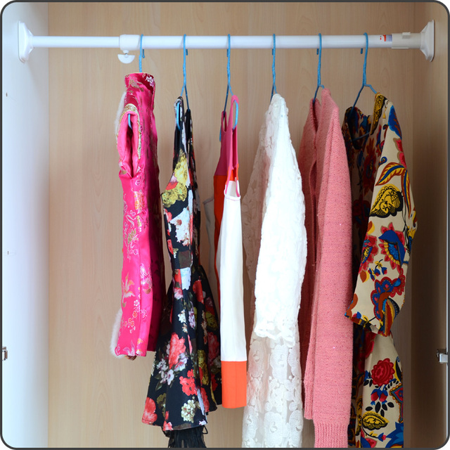 Laundry closet rod for hanging clothes pole scalable within jumbo ...