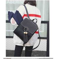 Big Ring Tassel Women PU Leather Backpack Box Suede Cover Casual Korean Style Travel Back pack bag for Teenagers Girls Mochila