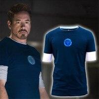 2018 Iron Man 3 Tony Stark Navy Blue T shirt Night Luminous Mid Sleeve t Shirt basic Tee Blue