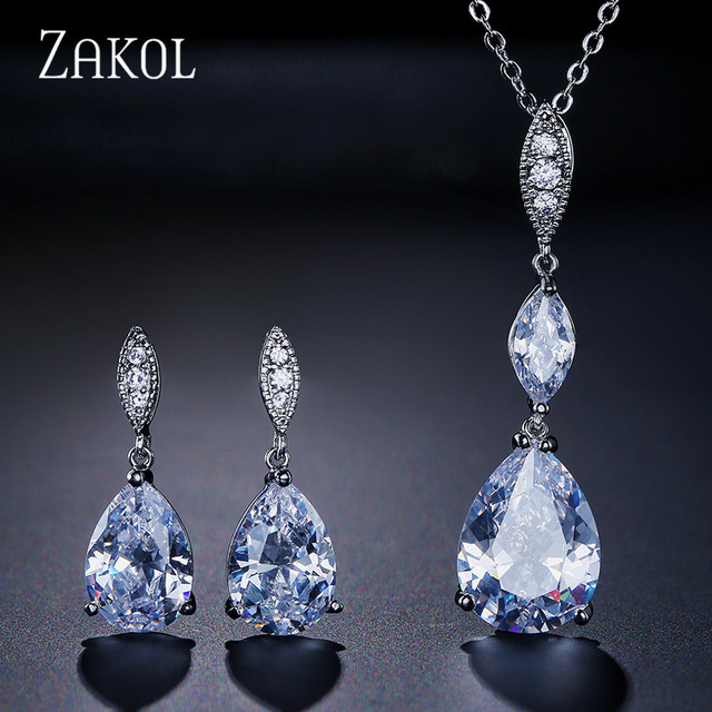 Zakol Brand Water Drop Zirconia Jewelry Set High Quality Cz Crystal Stone Earrings Pendent Necklace