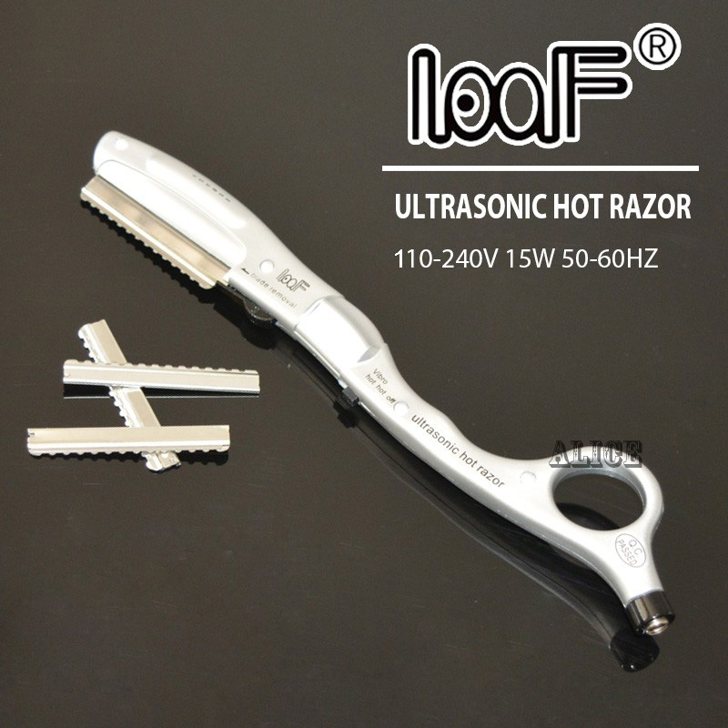 LOOF Ultrasonic Hot Vibrating Razor For Hair Cut With 10pcs of Spare Blades Hair Styling Tools Free Shpping
