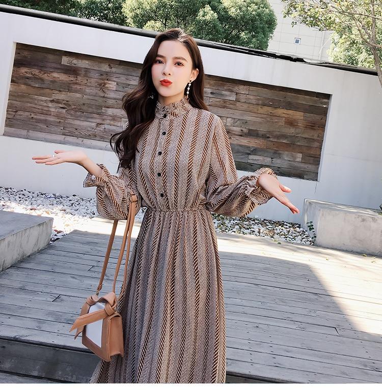 Women chiffon dress 2019 spring autumn female vintage print elegant a-line dress long sleeve loose casual office lady dress 8