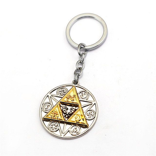 HSIC 10pcs/lot Wholesale Legend of Zelda Keychain Keyring Metal Alloy Key Chains Triangle Game Chaveiro Gifts HC1230