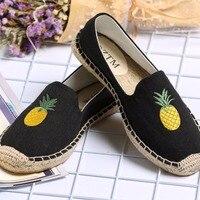 2017 Pineapple Espadrilles Women Canvas Sliony Shoes Black Womens Flats Casual Slipones Loafers Designer Brand