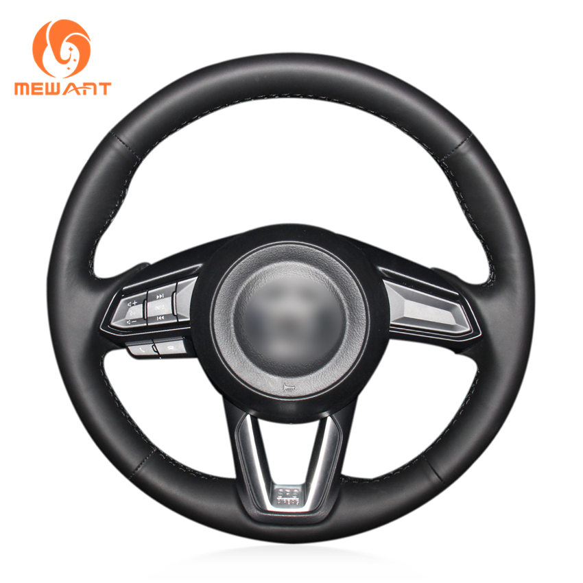 Black Genuine Leather Steering Wheel Cover for Mazda 3 Axela 2017-2019 Mazda 6 Atenza 2017-2019 CX-5 CX5 2017-2019 Mazda CX-9 наклейки len ys 04 mazda mazda 3 mazda 6 m5