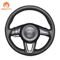 Black Genuine Leather Steering Wheel Cover for Mazda 3 Axela 2017 2019 Mazda 6 Atenza 2017 2019 CX 5 CX5 2017 2019 Mazda CX 9